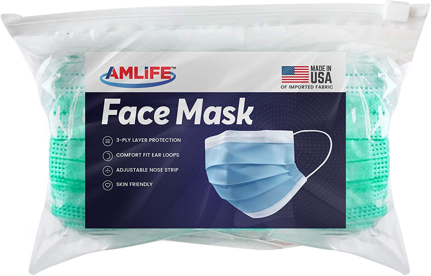 AMLIFE Face Masks [100 Pieces Pack] Disposable Protective 3-Ply Filter - Made in USA with Imported Fabric - Convenient Zipper Bag - Green