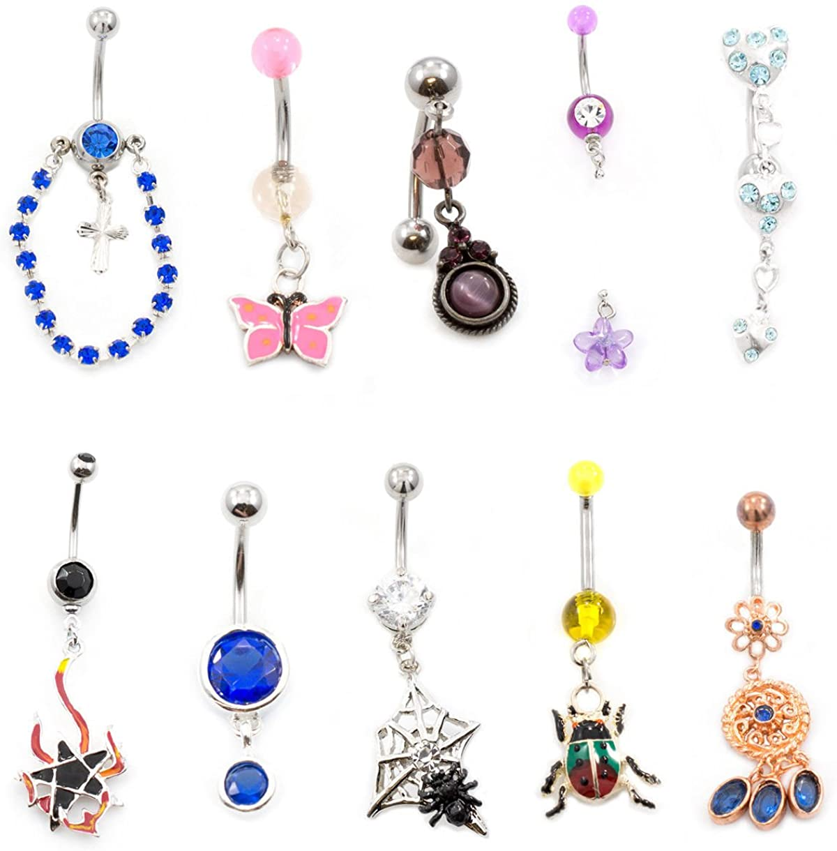 BodyJewelryOnline Belly Button Ring Pack of 10 Love The Nature Collection Navel Rings with Unique Designs 14g