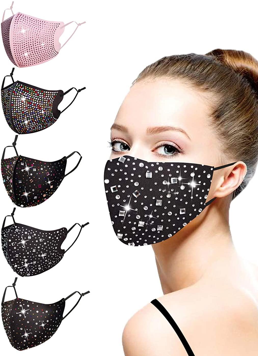 Fashionable Crystal Diamond Christmas Face Coverings for Women Girls, Reuseable Adjustable Rhinestone Mask Halloween