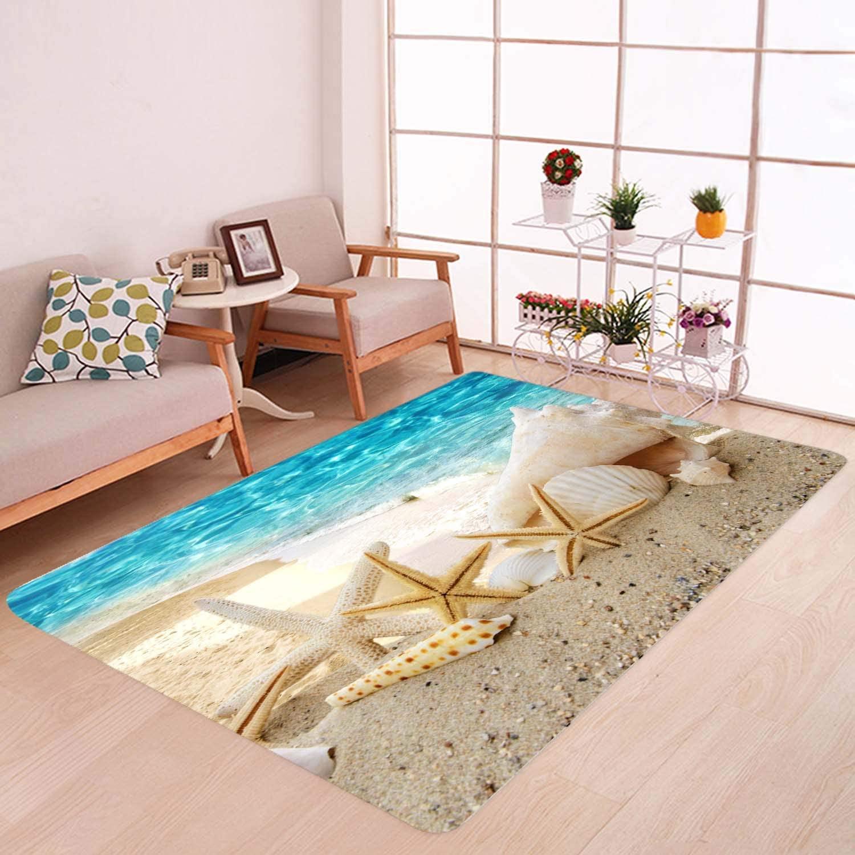 Beach Starfish Print Memory Foam Bath Rugs and doormats Non Slip Absorbent Super Cozy Flannel Bathroom Rug Carpet 4 x 5.2 Foot