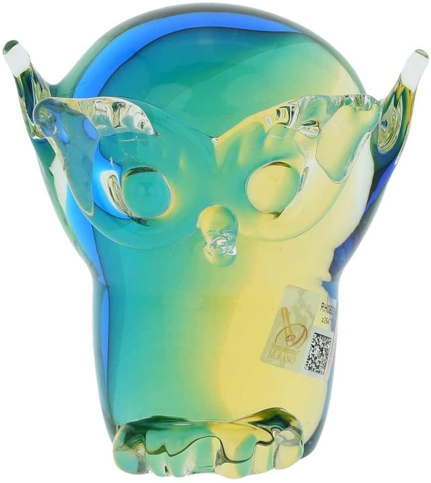 GlassOfVenice Murano Glass Owl - Amber Aqua
