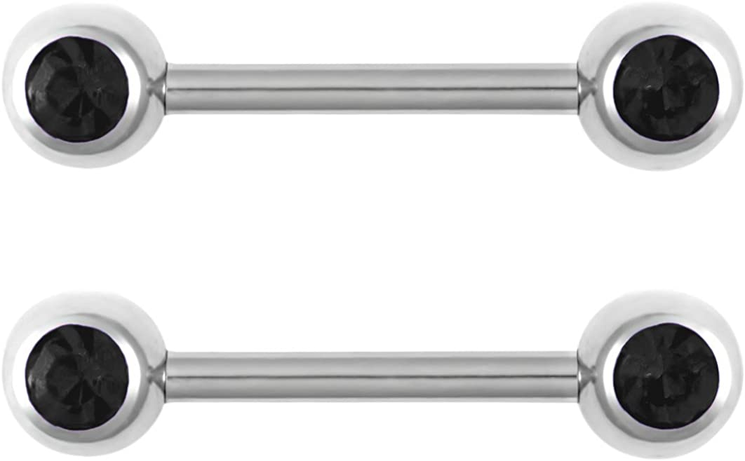 Forbidden Body Jewelry 14g Nipple Ring Barbells Set of 2, Pair of 12mm (1/2 Inch) Barbells with 5mm Balls