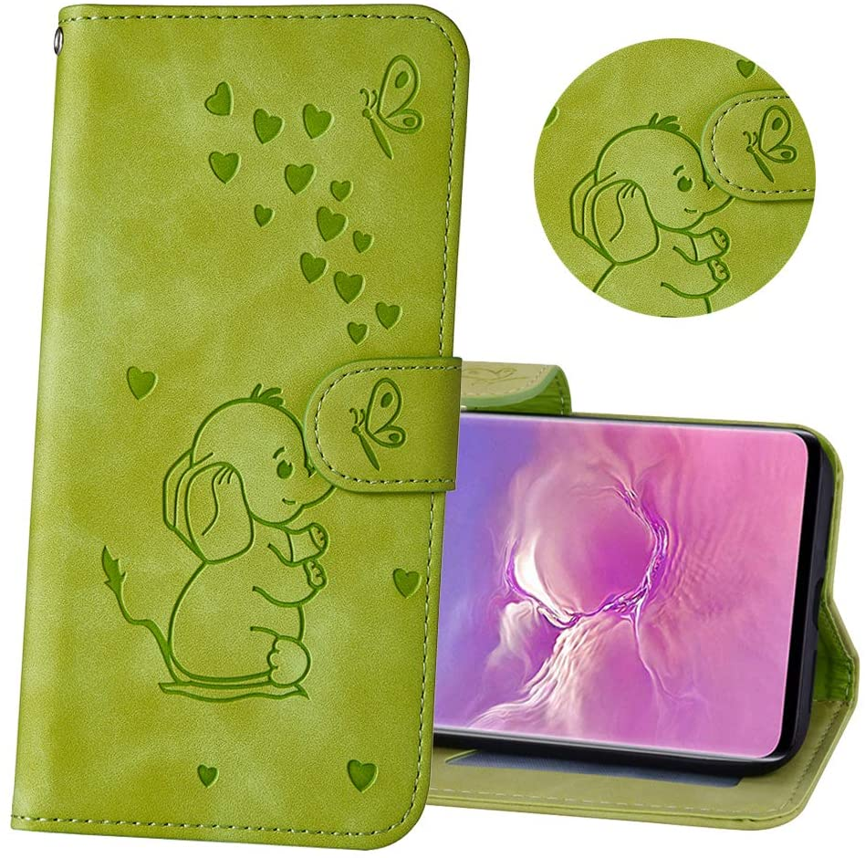 MRSTERUS iPhone 11 Case Fashion Cute Shockproof Embossed Love Elephant PU Leather Magnetic flip Notebook Wallet Magnetic Bracket Card Slot for iPhone 11 Elephant Green Pattern RXX