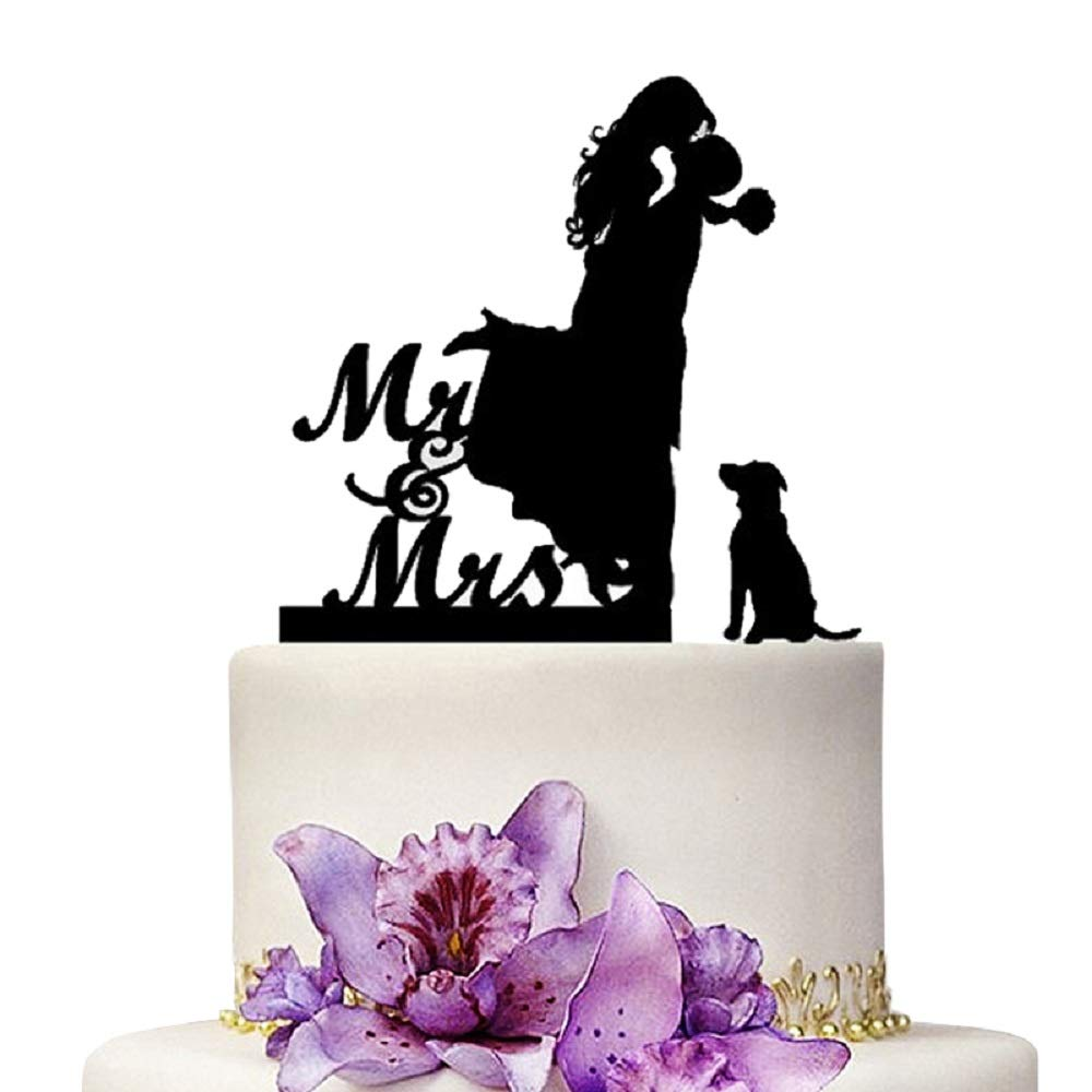 YAMI COCU Mr And Mrs Wedding Cake Toppers Bride And Groom With Dog Silhouette Party Engagement Decoration