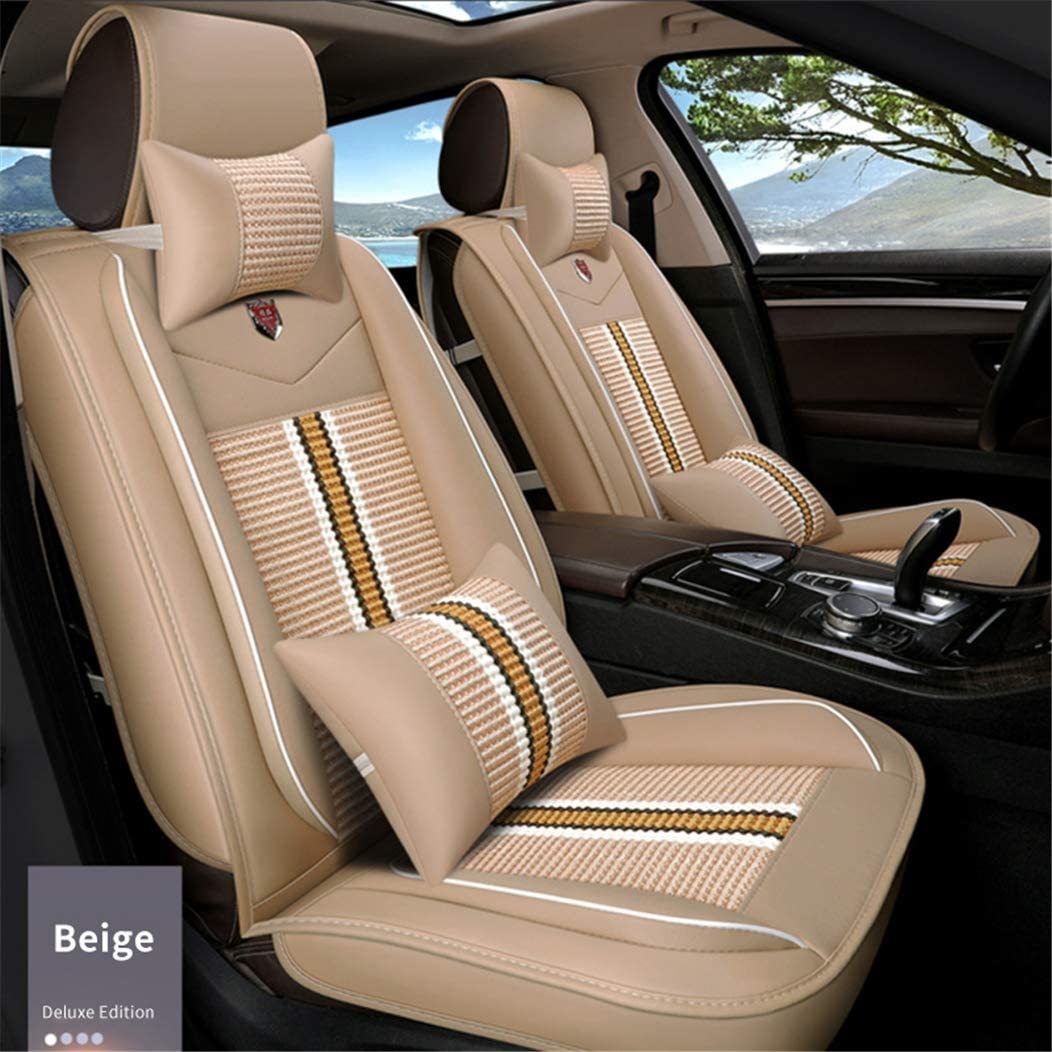 Car Seat Covers for Smart Fortwo Forfour Luxury Leatherette Car Front and Rear Seat Protector Airbag Compatible Beige