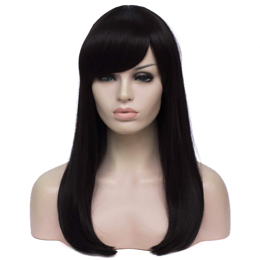 WGPFWIG Long Black Wig Straight Wig Side Bangs Wig for Women Party Halloween Wig (Black)