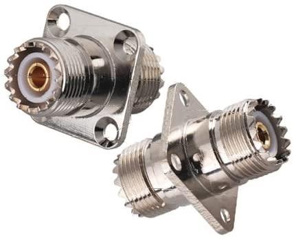 2X UHF SO239 Jack Female to Jack Female 4 Hole Flange Mount Connector Adapter