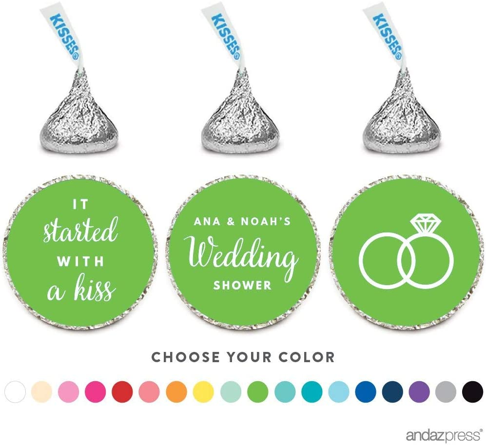 Andaz Press Personalized Chocolate Drop Labels Trio, Fits Hersheys Kisses, Wedding Couples Shower, 216-Pack, Custom Made Any Name