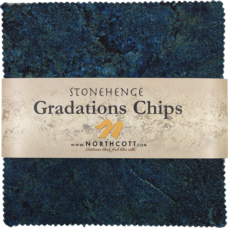Stonehenge Gradations Blue Planet Stone Chips 42 5-inch Squares Charm Pack Northcott