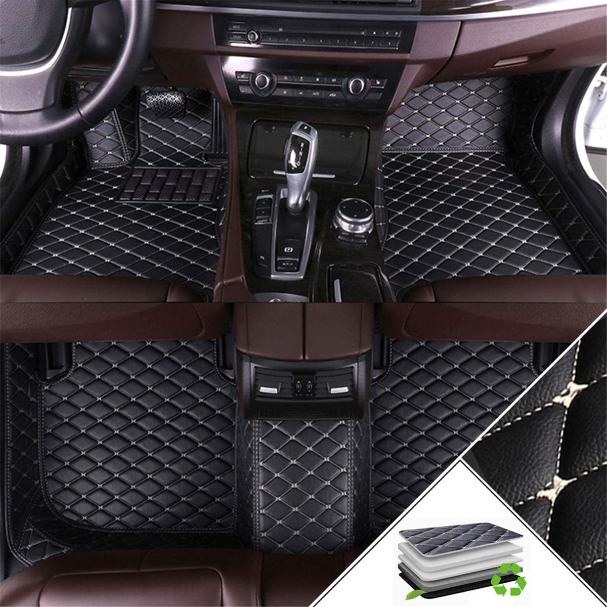 Handao-US Custom Car Floor Mats for Audi Q3 2019 All Weather Non-Slip Full Coverage Protection Luxury Leather Car Liner Set Black Beige