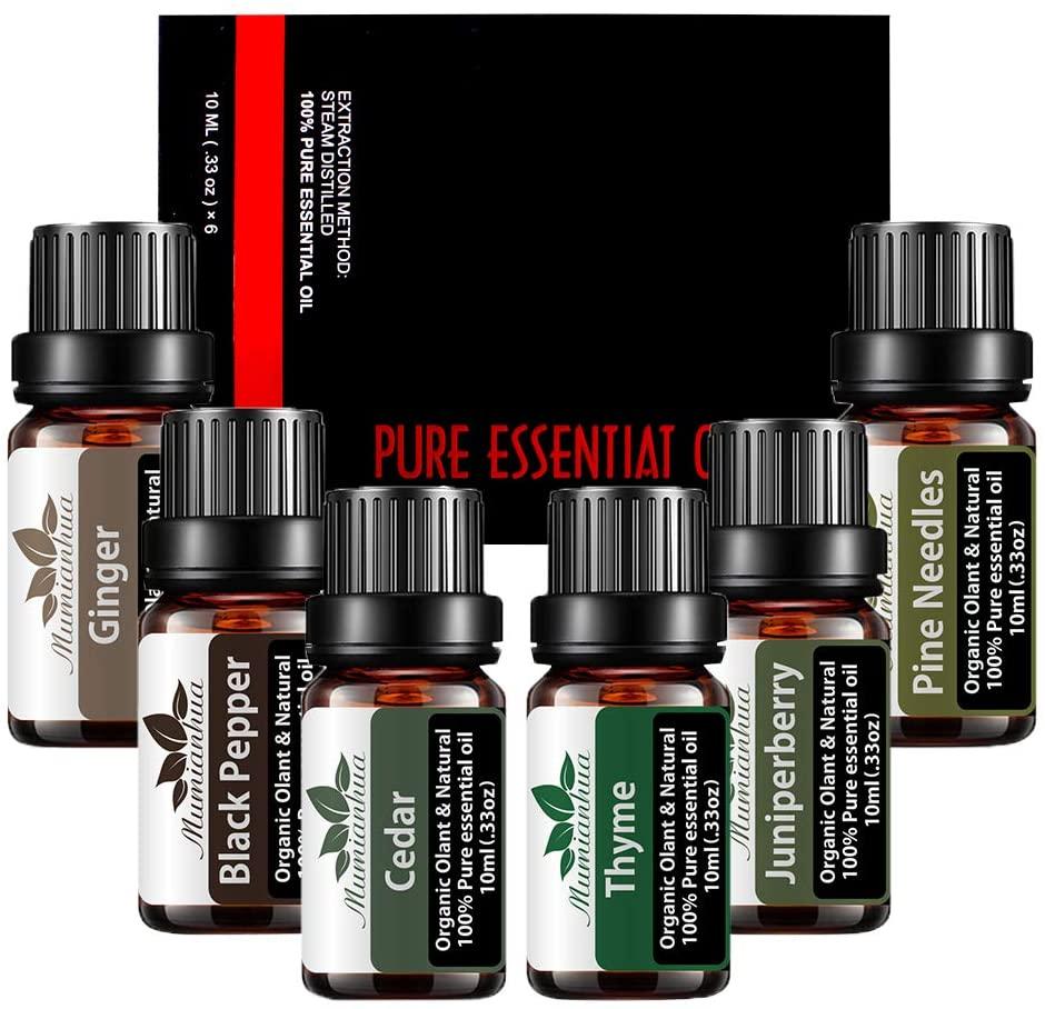 Mumianhua 6pcs/Pack Essential Oil Set Pure Plant Aromatic Therapeutic Essential Oil Set 10ml (Cedar, Ginger, Black Pepper, Pine Needles, Juniper, Thyme)