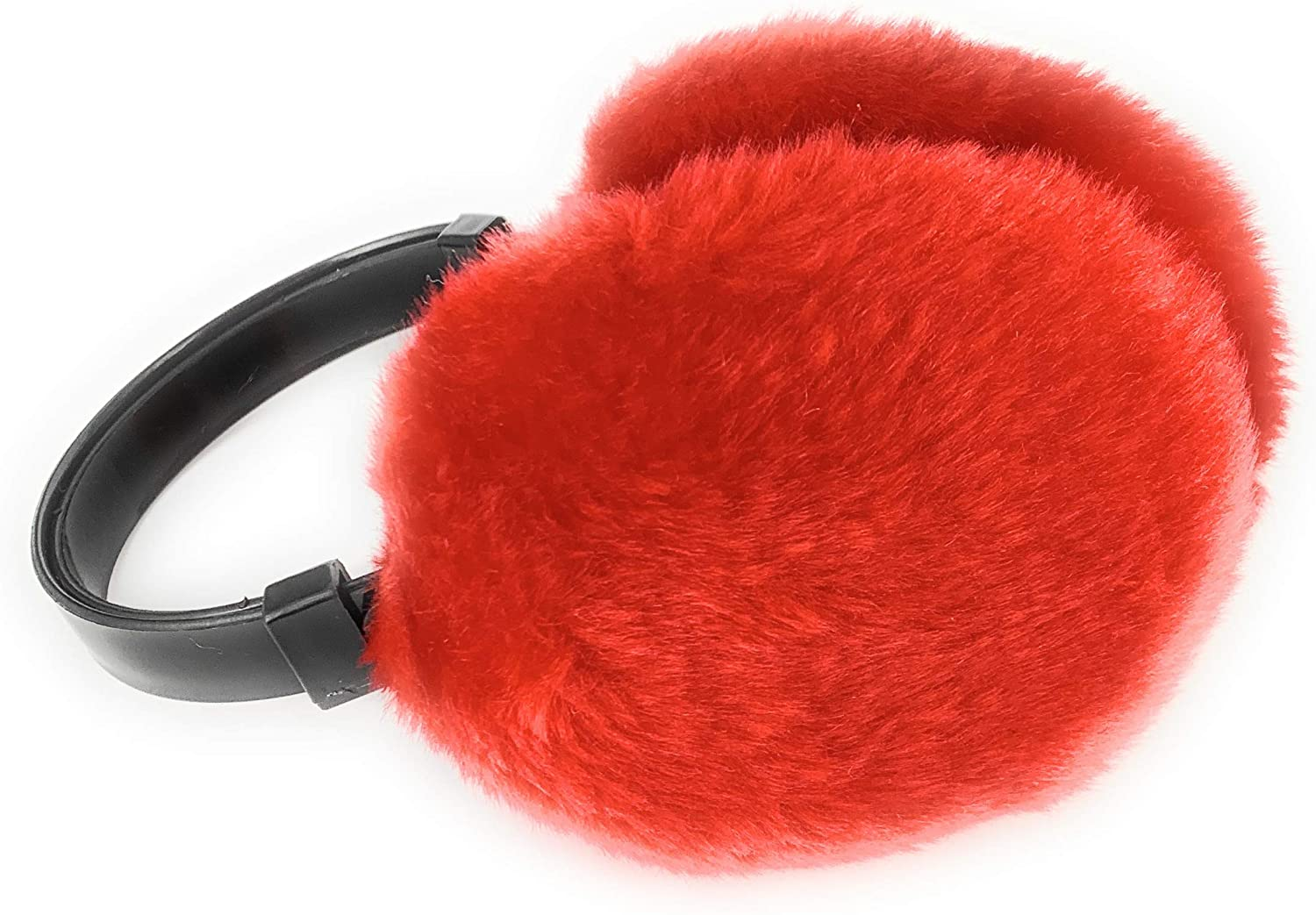 Red faux fur furry ear muffs warmers fold up classic old school style adjustable head band