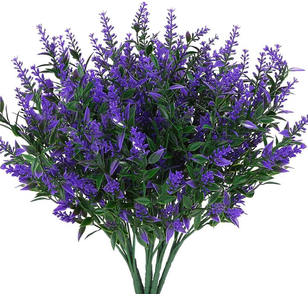 KLEMOO Artificial Lavender Flowers Plants 8 Pieces, Lifelike UV Resistant Fake Shrubs Greenery Bushes Bouquet to Brighten up Your Home Kitchen Garden Indoor Outdoor Decor(Purple)