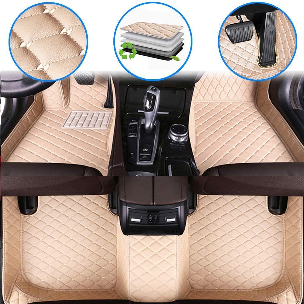 WANLING Car Custom Floor Mats for Chevy Equinox 2005-2009 Luxury Leather Waterproof Non-Slip Full Coverage Floor Liner Full Set Beige