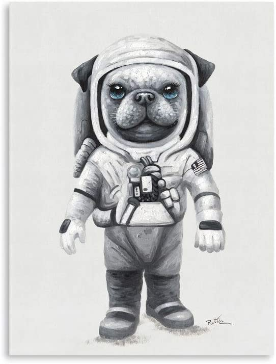 B BLINGBLING Astronaut Dog Wall Art Canvas Print: Dog Astronaut Canvas Wall Art on Moon Poster for Boys' Living Room Ready to Hang (24