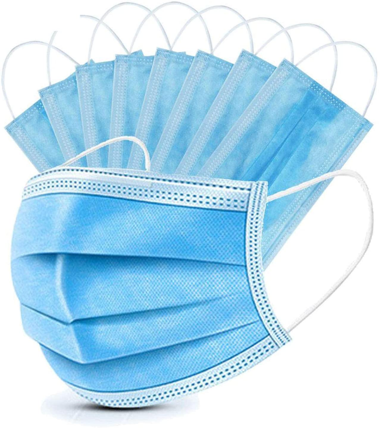 JYJC Disposable Face 3-Layer Suitable for Offices and Crowded Places Can Protect Safety, 50PACK, Blue