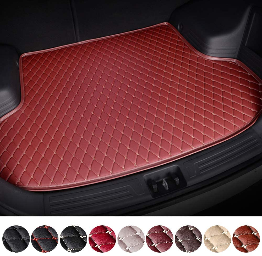 Customized Trunk Mat Floor Mat for Jeep Grand Cherokee Wrangler Compass Renegade Car Flat Coverage All Weather Trunk Protection Waterproof Cargo Mat Leather Liner Set Red