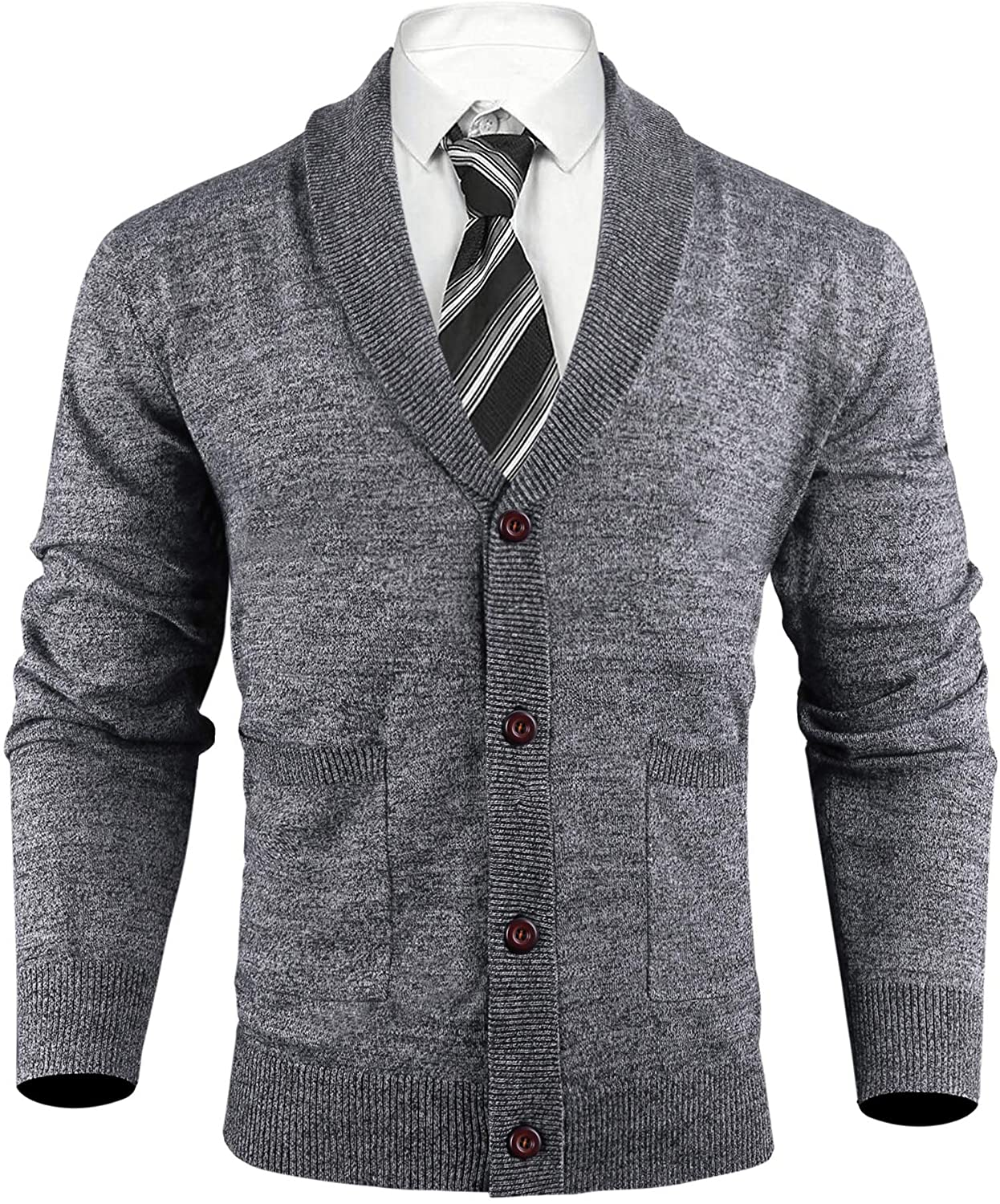iClosam Mens Cardigan Lightweight Knitwear Button V-Neck Slim Fit Knitted Xmas Cardigans Sweater with Two Front Pockets S-XXL