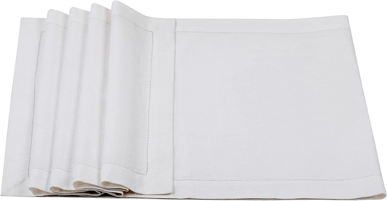 Lino Mantra - 100% Cotton Slub Dinner Table Runner Handmade Designer Ladder Lace Hemstitched 16 INCH x 90 INCH in White Color - Premium Linen Look - 100% Cellulose Natural Fiber