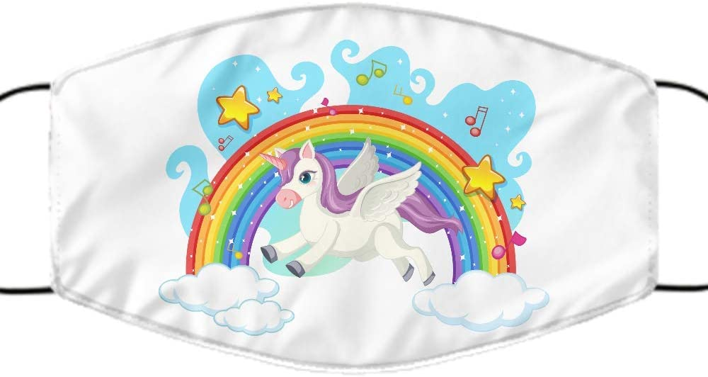 Unicorn Rainbow Face Mask,Designer face mask, for Men, Women, Kids,Reusable,Washable,Made in USA,Fashionable Face Mask,Polyester, One Size Fits All