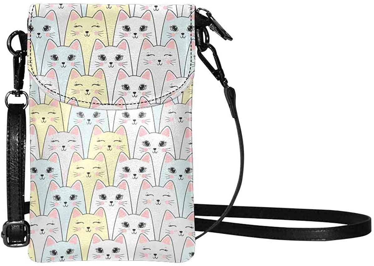 InterestPrint Cell Phone Purse, Lightweight Small Wallet Purses with Shoulder Strap for Women Funny Cat