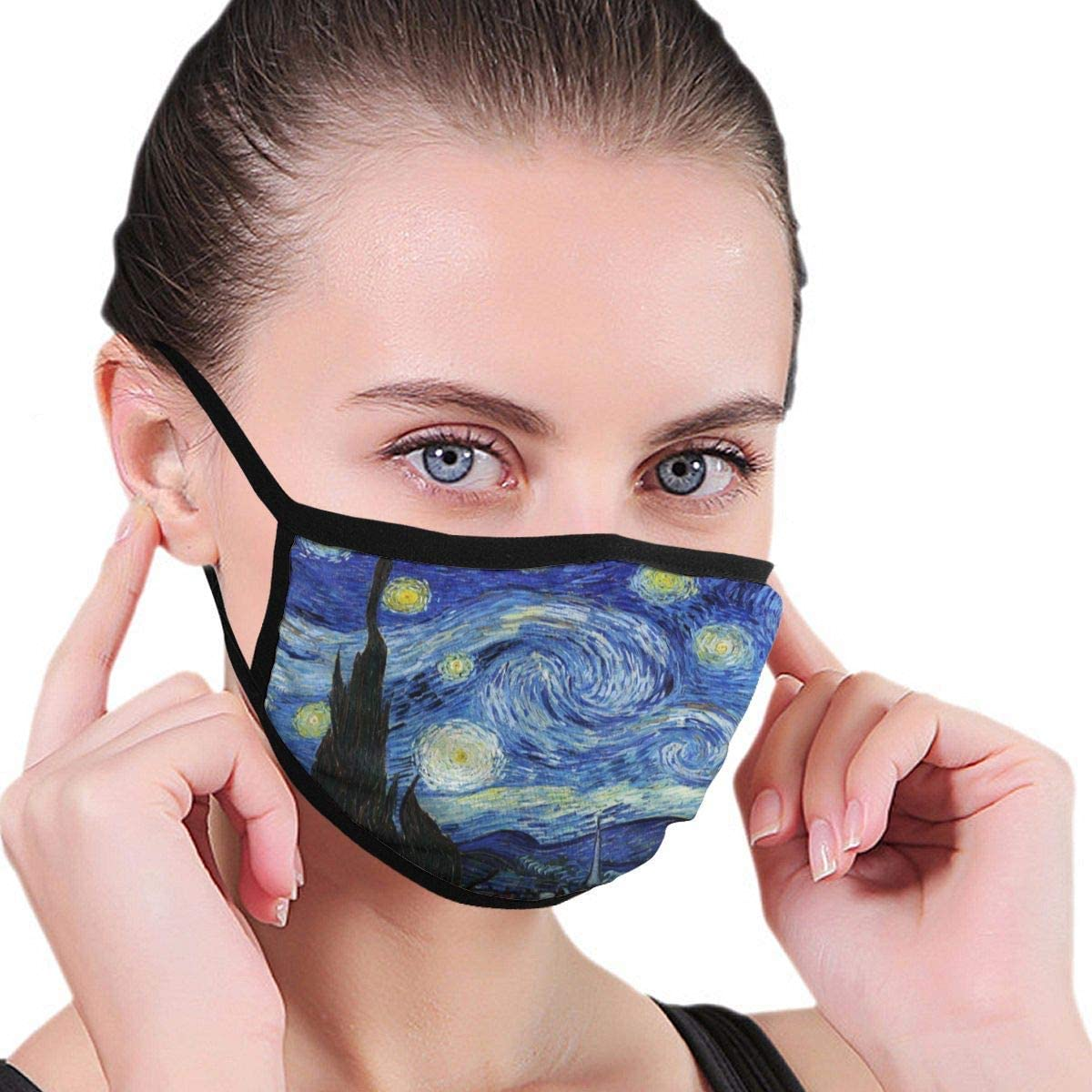 Mouth Cover Starry Night By Vincent Van Gogh Dust Breathable Reusable Ear Loop Unisex Face Scarf Windproof Protective Face Wear