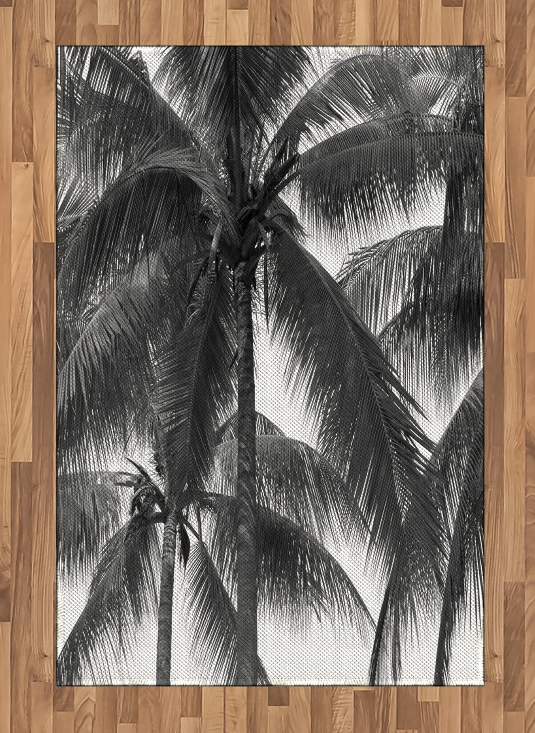 Ambesonne Palm Tree Area Rug, Palm Tree Silhouette Exotic Plant on Dark Theme Foliages Relaxing in Nature Image, Flat Woven Accent Rug for Living Room Bedroom Dining Room, 4' X 5.7', Black