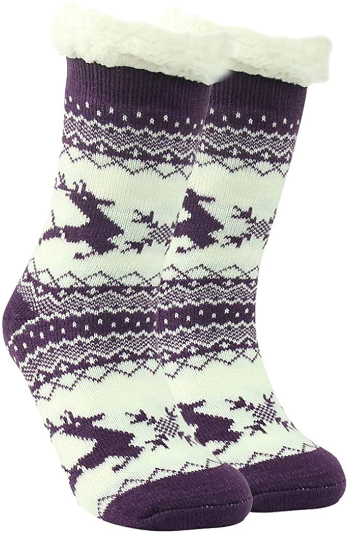 Womens Slipper Socks,Home Slipper Thick Fleece Lined Non Slip House Winter Warm Socks 1/3 Pack