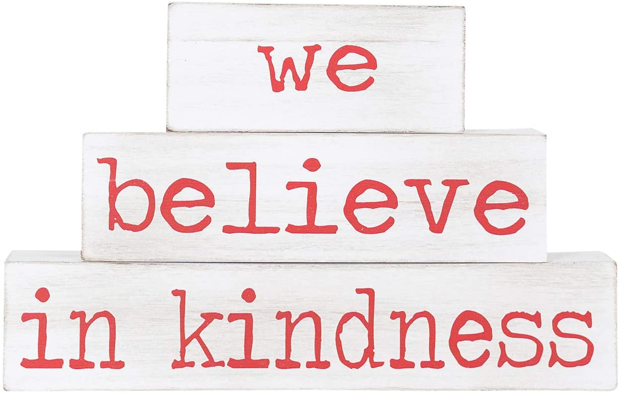 Adams & Company We Believe in Kindness Red and White 12 x 7 Wood Christmas Brick Signs Set