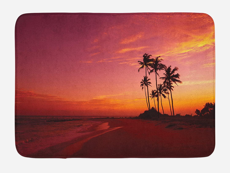 Ambesonne Ocean Bath Mat, Exotic Beach Photo Over The Ocean Hawaii Palm Trees at Sunrise Summer Wonderland, Plush Bathroom Decor Mat with Non Slip Backing, 29.5