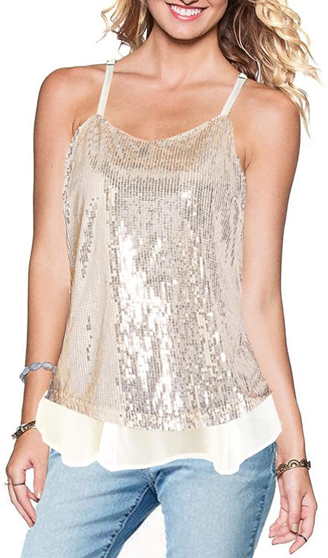 JAMEGIO Women's Sleeveless Sparkle Shining Camisole Sequined Vest Sequin Tank Tops Sparkle Cami