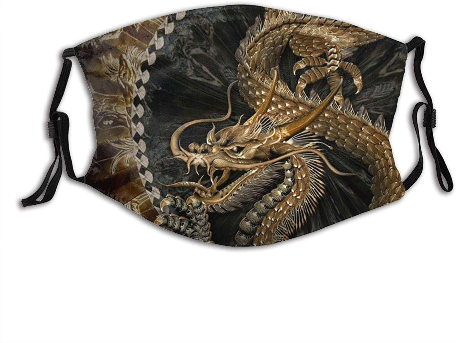 Sketch The Dragon Face Mask Fashion Dustproof Breathable Reusable Scarf Adjustable Washable Protective Bandana