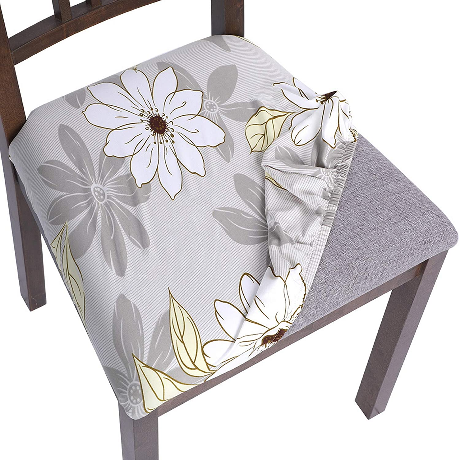 SearchI Chair seat Covers, Stretch Printed Dining Room Chair Seat Covers Removable Washable Chair Seat Covers Anti-Dust Chair Seat Cushion Slipcovers for Dining Room, Kitchen(flower1, 4pcs)