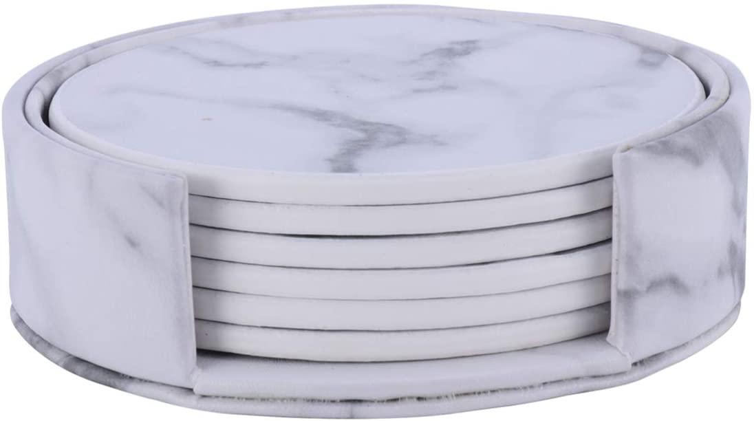 GARNECK Marble Pattern Coasters PU Leather Round Heat Insulation Teacup Coaster Mugs Cups Pads Table Mat with Holder for Dining Room Kitchen