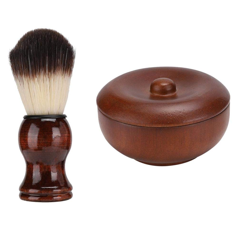 Beard Shaving Set, Safety Razor Brush Men Beard Shaving Cream Shaving Soap Bowl Soft Hair Brush Beard Cleaning Tool Kits Gift Box(Wood)