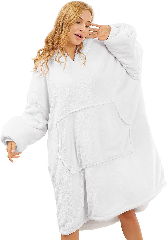 Topblan Oversized Wearable Blanket Hoodie for Women and Men, Super Warm Microfiber & Sherpa Hooded Blanket, Thick Flannel Blanket Sweatshirt with Sleeves and Giant Pocket, Black