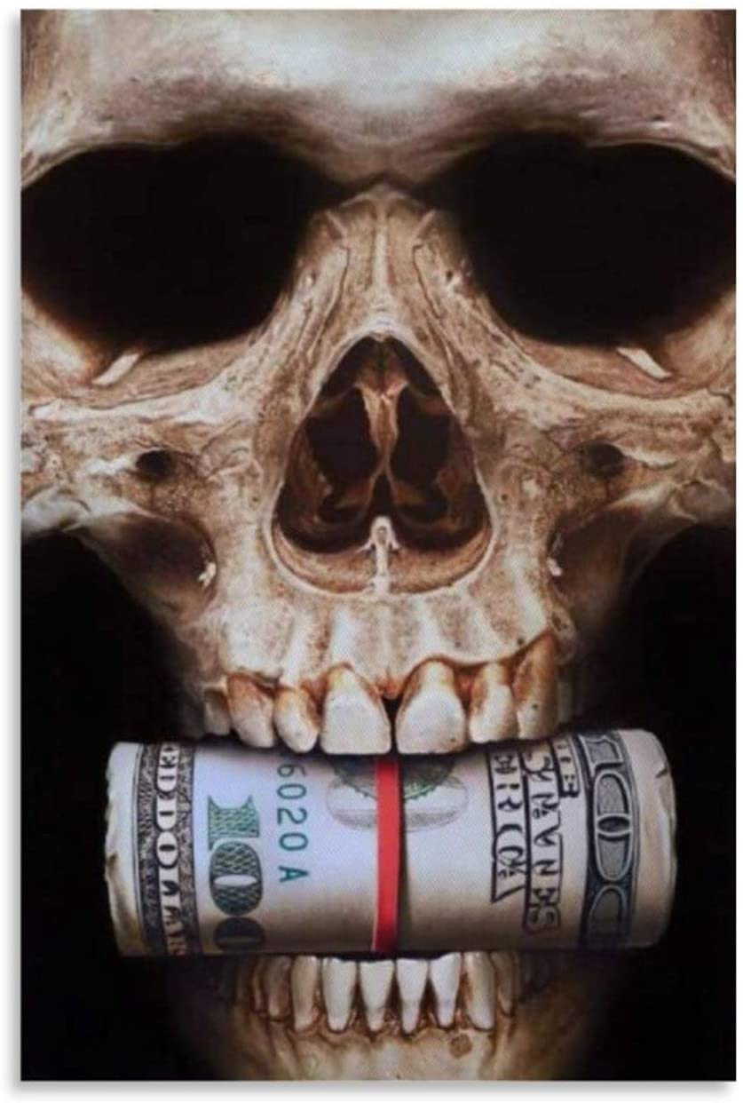 xiaoxiami Biting The Abstract Skull of Money Canvas Art Poster and Wall Art Picture Print Modern Family Bedroom Decor Posters 12x18inch(30x45cm)