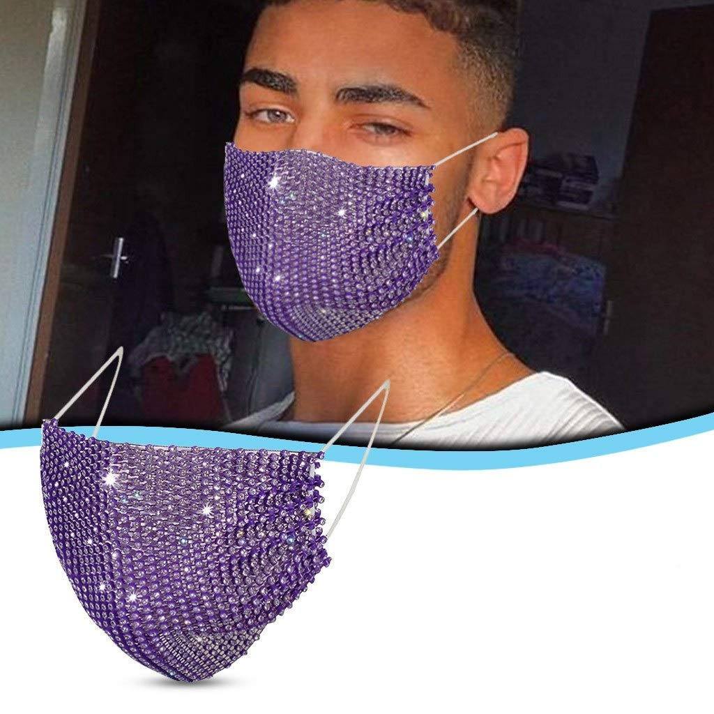 【USA In Stock 】Adults Masquerade Rhinestone Sequins Face Bandana_Covering_MASK Mouth Face Protection for Women and Men, Fashion Outdoor Washable Reusable Quick-drying Anti-Haze Face Fabric For Cycling Camp