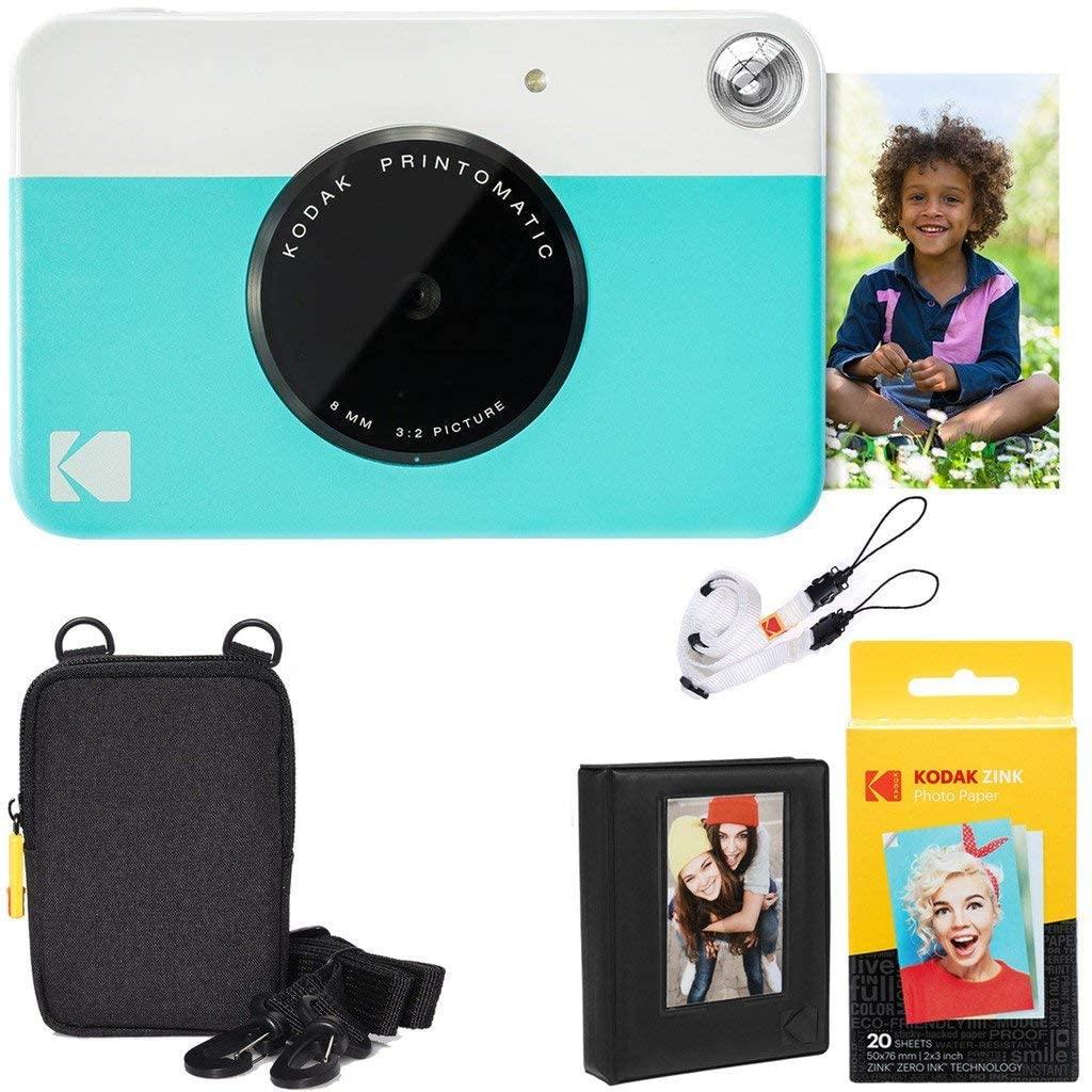 Kodak AMZRODOMATICK2BL Printomatic Instant Camera (Blue) Deluxe Bundle + Zink Paper (20 Sheets) + Deluxe Case + Photo Album + Hanging Frames + Comfortable Neck Strap