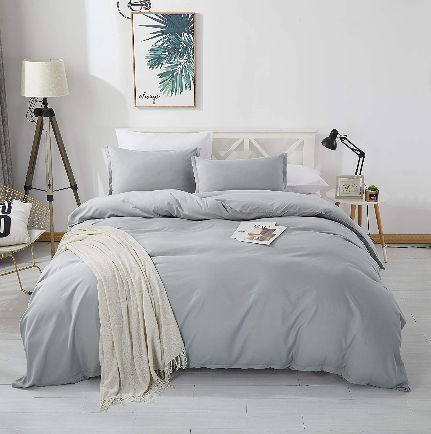 Alazuria Bedding Duvet Cover 3 Piece Set 100% Washed Microfiber-Ultra Soft Breathable Hypoallergenic with Zipper Closure (1 Comforter Cover + 2 Pillow Shams) Cloud Grey, Queen