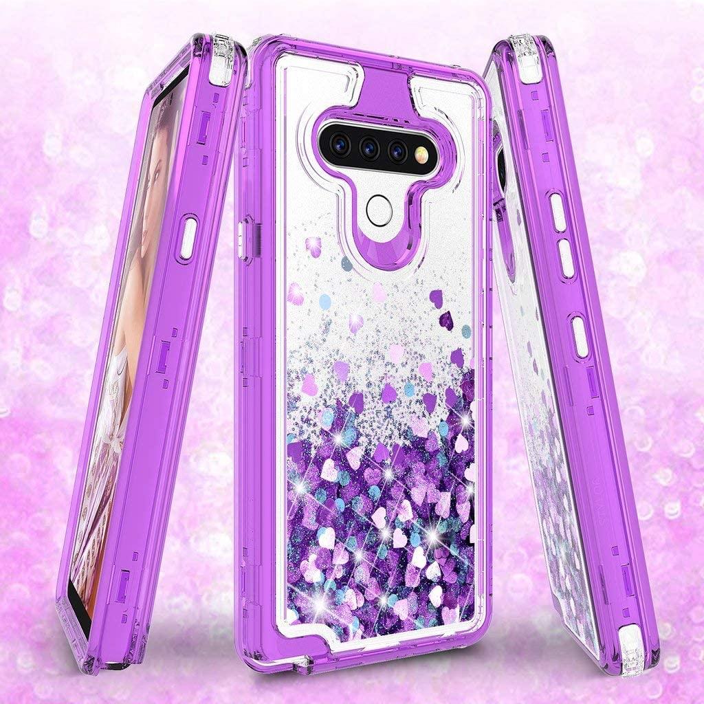 Galaxy Wireless Case for LG K51 / LG Reflect / Q51 Case, Hard Clear Glitter Sparkle Flowing Liquid Heavy Duty Shockproof Phone Case for LG K51 - Purple