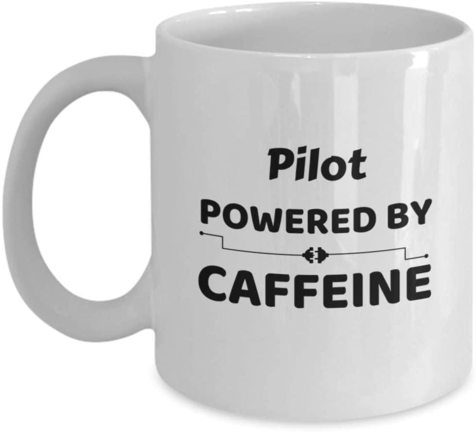 Pilot Powered by Caffeine Coffee Cup Plane Navigation Coworker Friend Gift Couple Mug Present