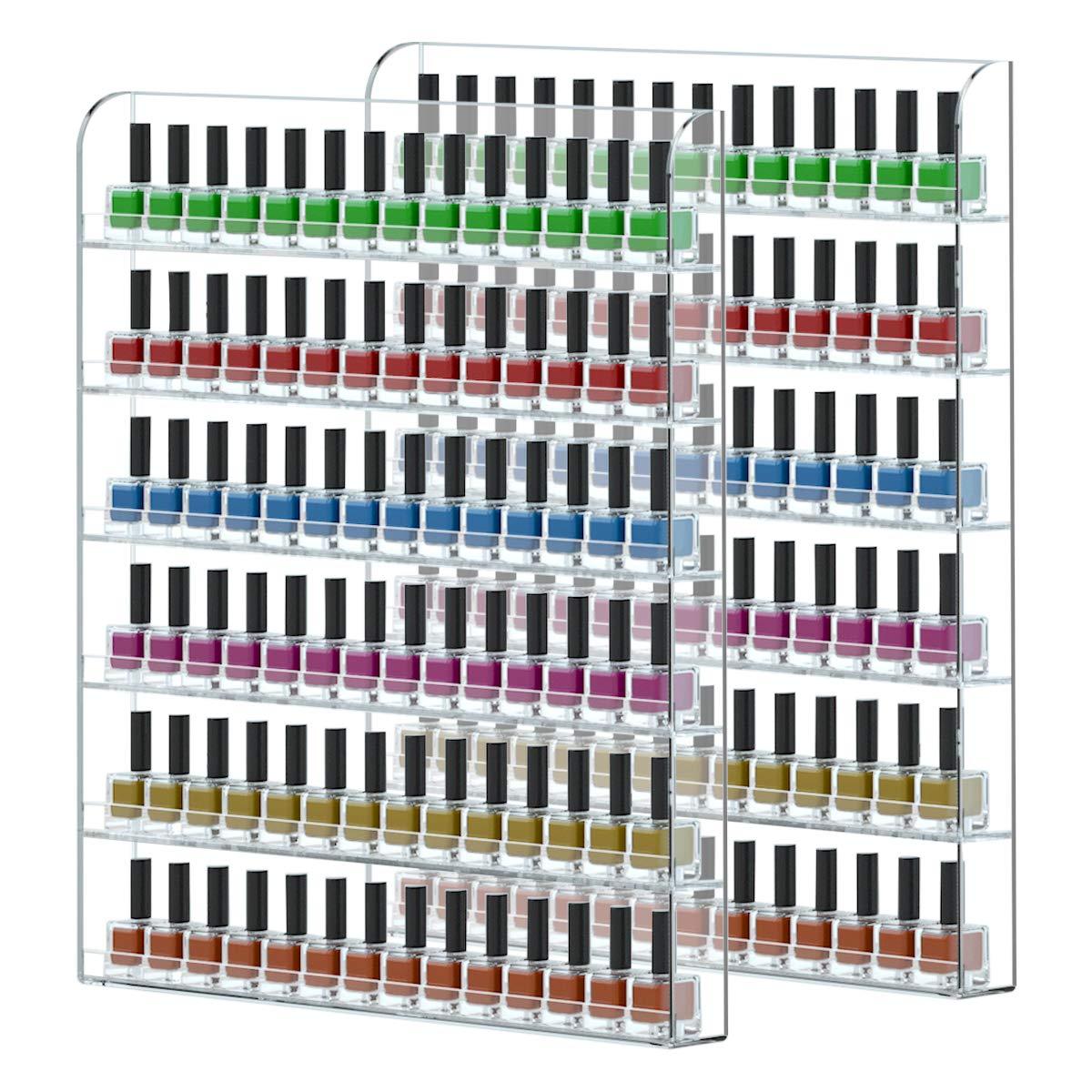 FEMELI 2 pack Nail Polish Wall Rack Hold Up To 200 Bottles,Clear Acrylic Nail Polish Display Holder Organizer 6 Rows