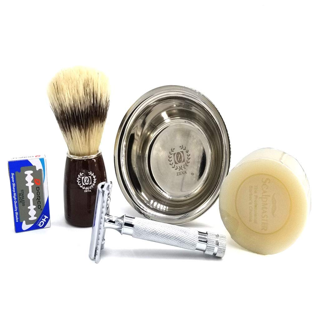 Men Grooming Cutthroat SET/KIT Barber Shave Close Cut Close Shave DE Men's Traditional Classic Double Edge Chrome Shaving Safety Razor + 10 Blades Close Shave Reusable Safety Razor FREE BLADES