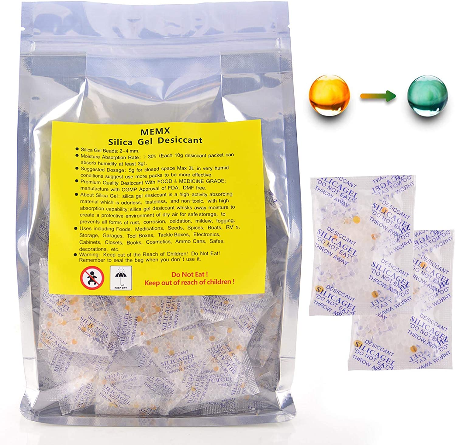 Silica Gel Desiccants Packets Dehumidifiers Fast Reactivate Food Grade Moisture Absorber Bags with Indicating Beads for Closet Gun Safes Basement Storage.(100 Packs, 5 Gram)