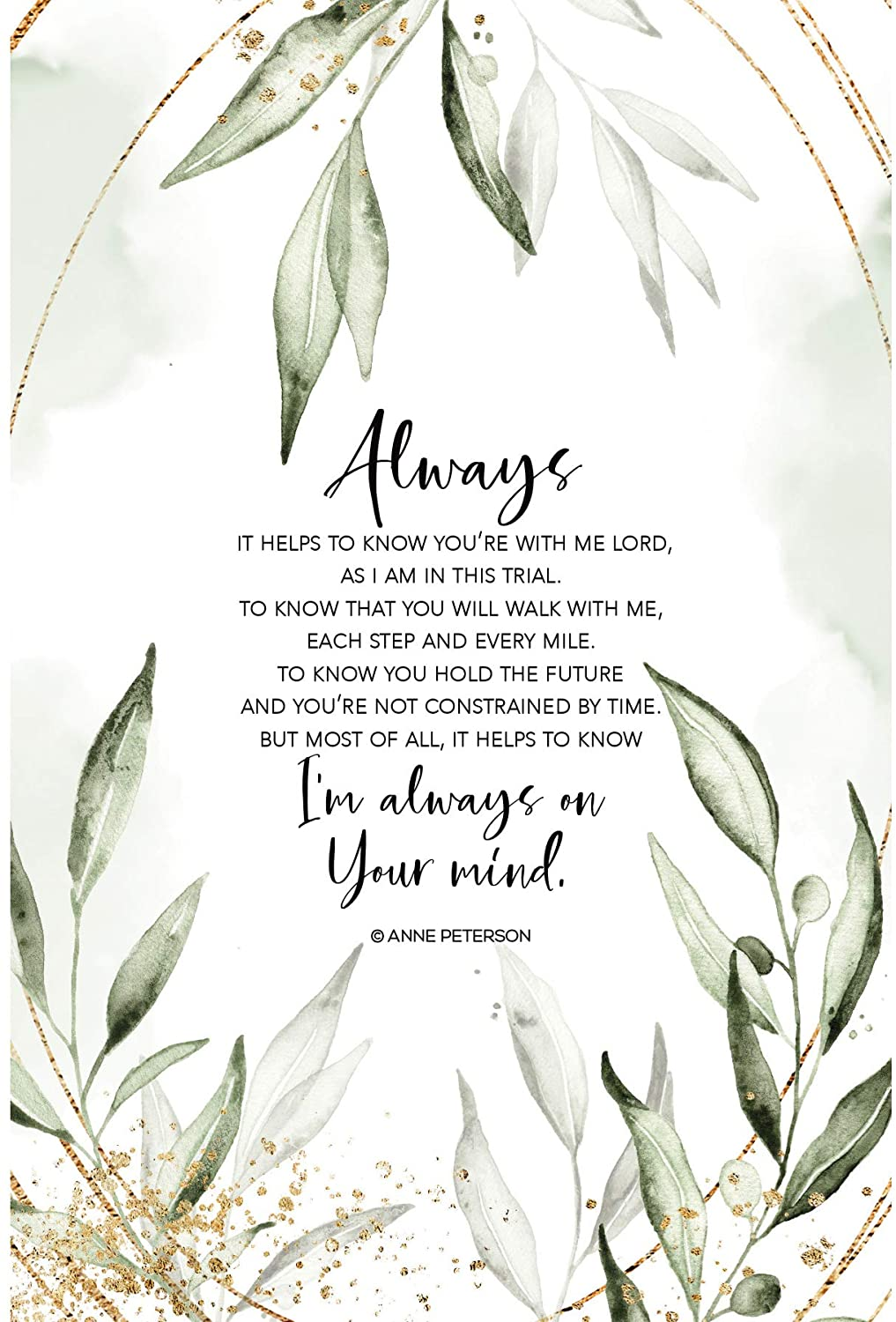 Wood Plaque with Inspiring Quotes 6 inches x 9 inches - Elegant Vertical Frame Wall & Tabletop Decoration | Easel & Hanging Hook | Always - It Helps to Know You're with me Lord, as I am in This Trial