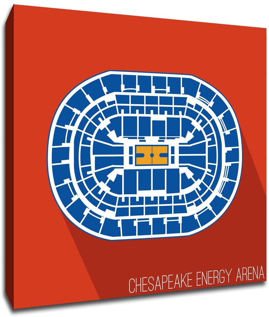 Oklahoma City - Chesapeake Energy Arena - Basketball Seating Map - 9x9 Gallery Wrapped Canvas Wall Art