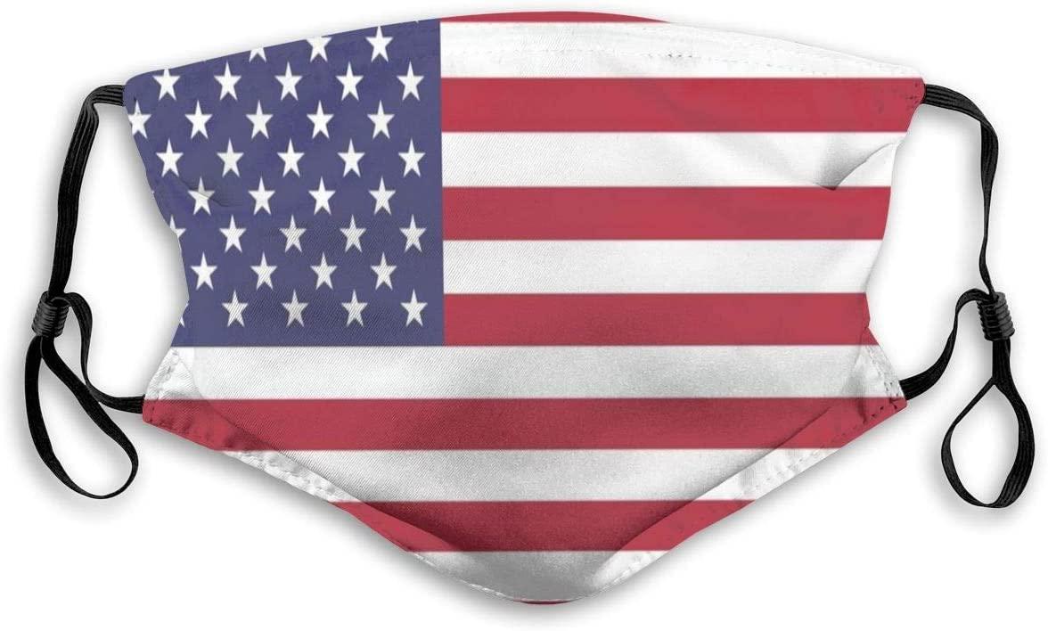 MANTOONE Face Bandanas America flag Breathe Dust Balaclava with Filter Protective Reusable
