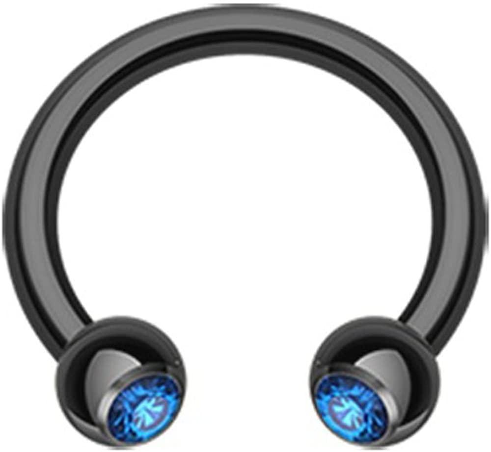 Inspiration Dezigns Blue CZ Blackline Horseshoe Ring Internally Threaded