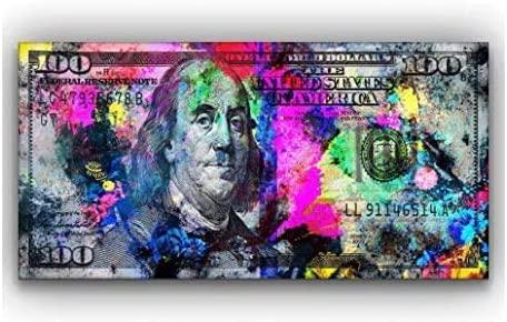 CanvasClub 100 Dollar Bill Canvas Art Pop Art Color Splashed Money Ready to Hang Canvas (15